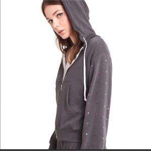 Wildfox regan gray rhinestone hoodie small new